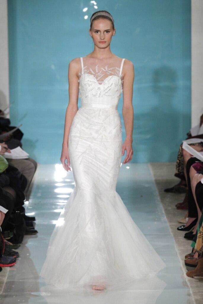 Vestido de novia estilo sirena con decoracion de ilusion - Foto Reem Acra 2013