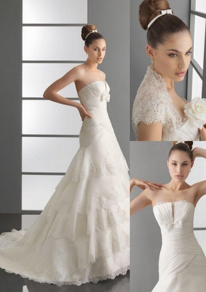 Vestido de novia 2012. Organza y encaje rebrodé en color natural. Avance Aire Barcelona