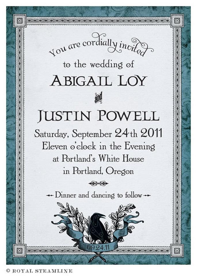 Invitación de boda estilo vintage en color azul - Foto: Royal Steamline