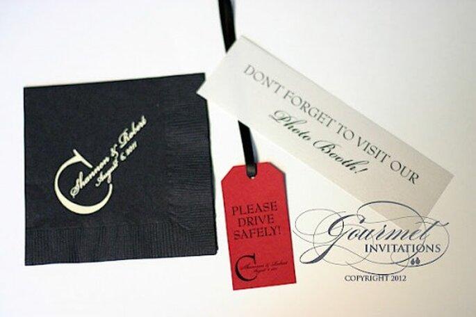 Papelería para tu boda: servilletas personalizadas. Foto Gourmet Invitations