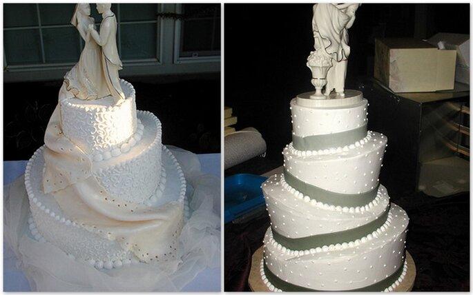 Torte a strati irregolari con statua degli sposi ini cima, ritorno al bianco con evoluzione nelle forme e nei dettagli