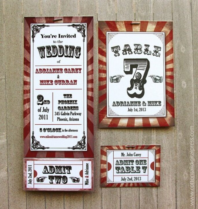 Invitación para boda temática de circo.