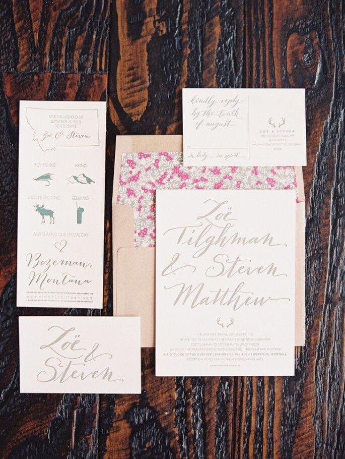 Invitaciones de boda estilo rústico con detalles en color rosa - Foto Jeremiah and Rachel Photography