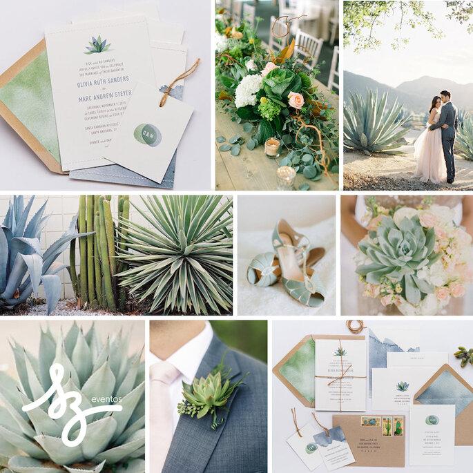 Una boda exótica decorada con cactus y suculentas