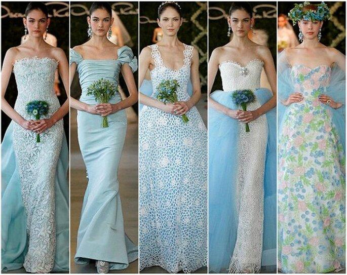 Vestidos de novia en color azul de Oscar de la Renta 2013. Foto: Dan Lecca