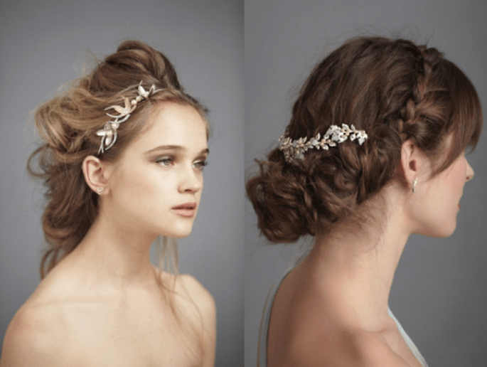 Tocados para novia con estilo vintage inspirados en la naturaleza en color plata - Foto BHLDN