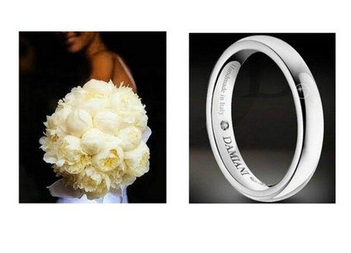 Bouquet de mariée avec des pivoines blanches & Alliance de mariage Damiani en or blanc avec diamant incrusté à l'intérieur