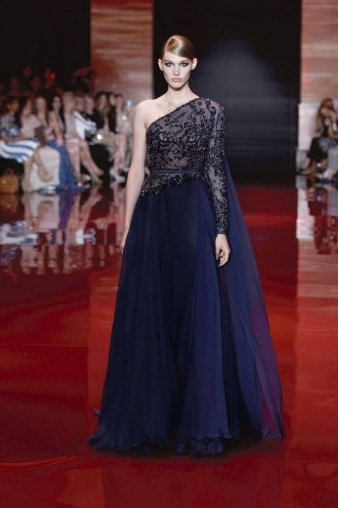 Vestido de gala color azul marino colección Elie Saab otoño-invierno 2013/2014 Foto - Elie Saab