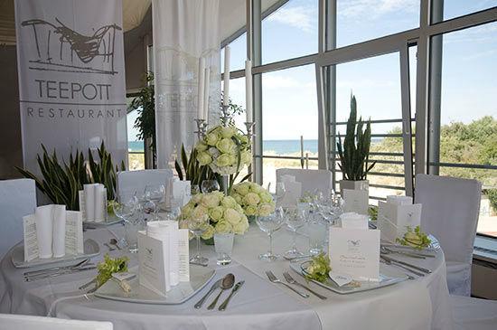Beispiel: Bankett - Tischdekoration, Foto: Teepott-Restaurant.