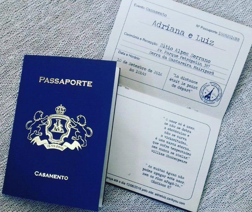 Convite modelo Passaporte