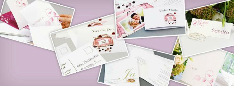 Beispiel: Verschiedene Kartensets in großer Auswahl, Foto: Hochzeitskarten-Traum.