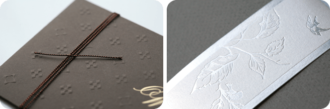 Faire part de mariage Wood's  Modèle Monogramme Chocolat, Ecrin Gris Grainé www.fairepartwoods.com