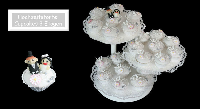 Beispiel: Dreistöckige Hochzeitstorte aus Cupcakes, Foto: Partytorten.ch.