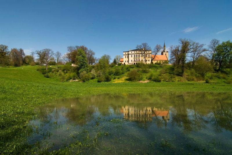Beispiel: Schloss mit Teich, Foto: Schloss Ettersburg.