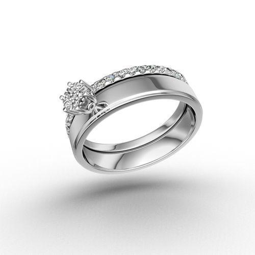 Beispiel: Verlobungsring Weissgold und Silber mit Diamant, Foto: Designer Diamonds München.