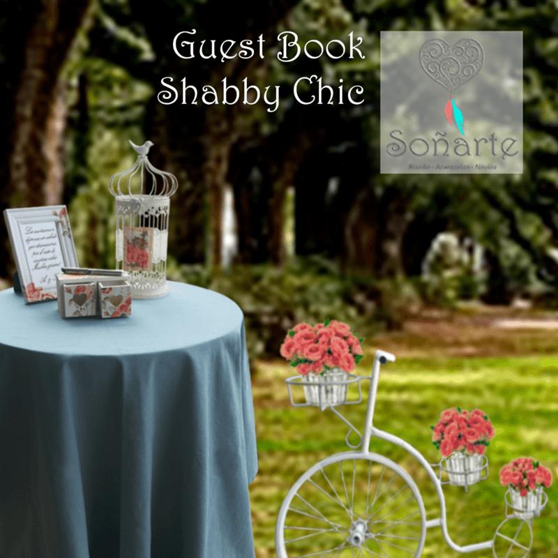 Guest Book Shabby Chic · Arriendo de decoración para escribir tarjetas de saludos a los recién casados
