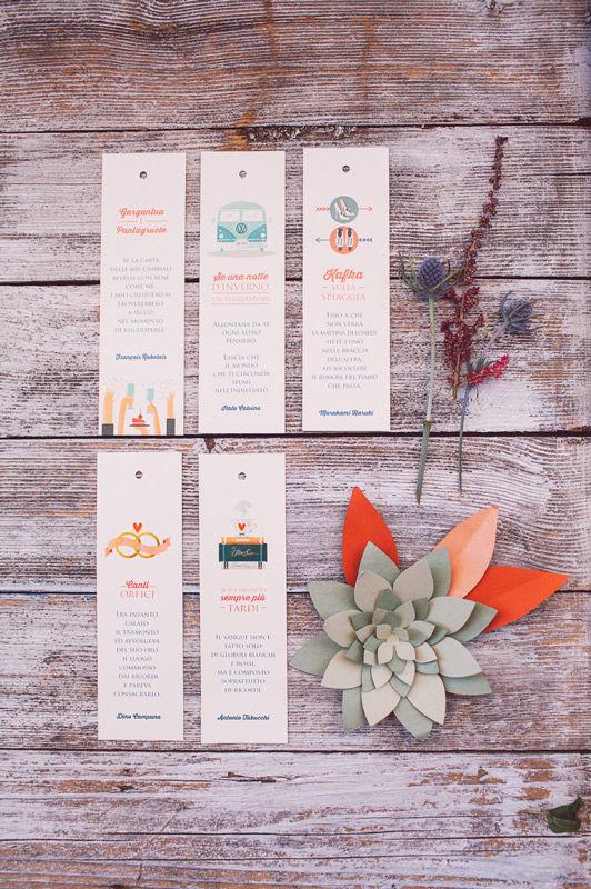 Segnaposti: illustrazione e grafica per segnalibri - foto di Infraordinario Wedding