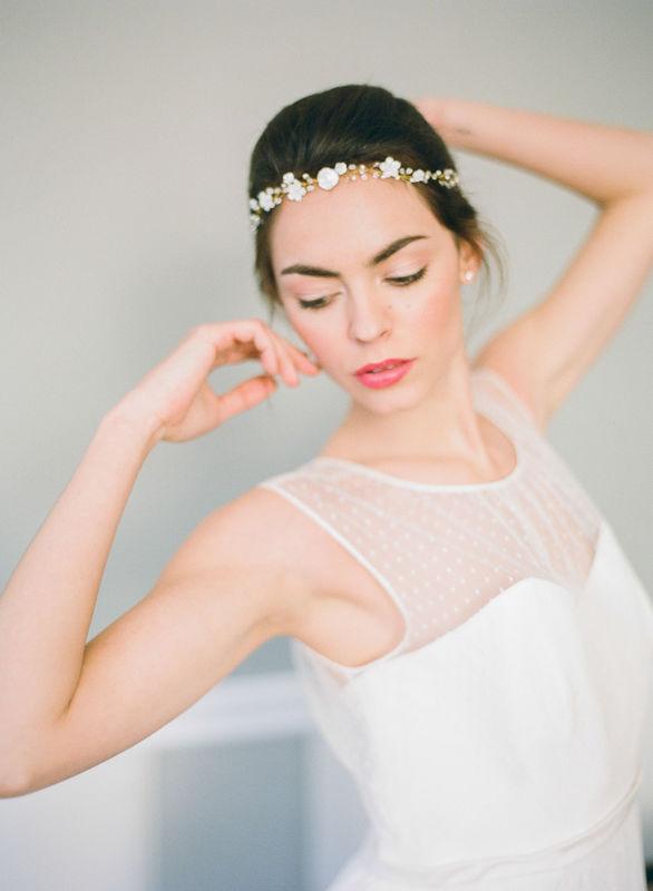 Headband Johanna avec fleur de nacre