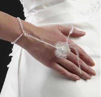 Bijou Bonheur Bracelet de la Mariée Perles Cristaux et Fleurs