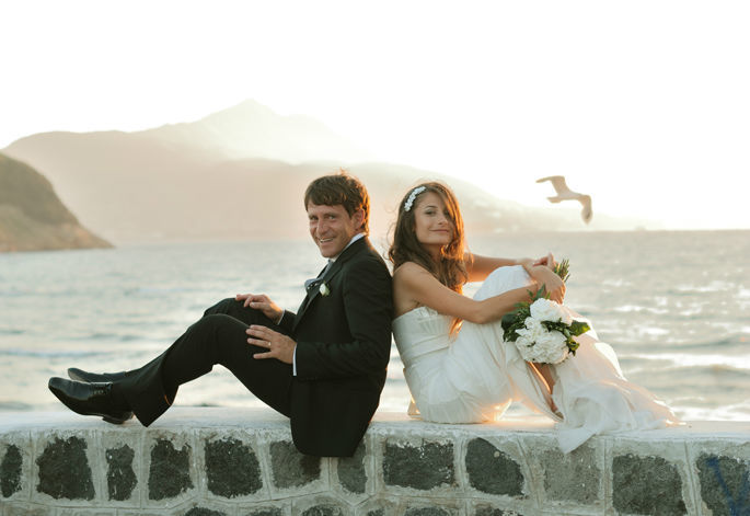 Sposi al tramonto- matrimonio al mare