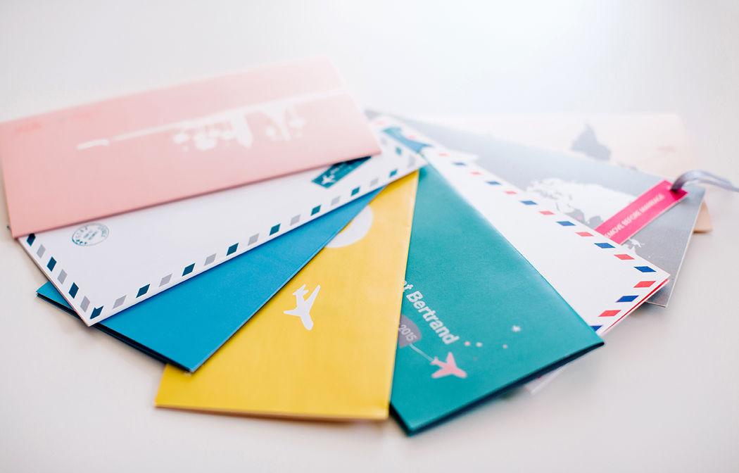 Faire-part Billet Avion Mariage L'Atelier d'Elsa Le Véritable Sur Mesure