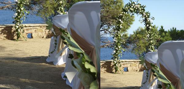Ceremónia con un arco floral para emarcar el paisaje del mediterraneo.  http://lafloreria.net