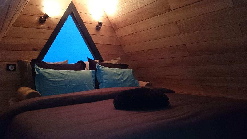 Chambre sur mezzanine du lodge avec jacuzzi