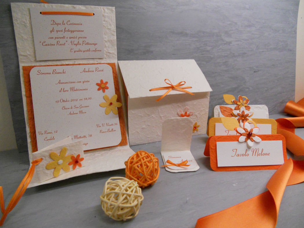 Stampa e crea- Matrimonio partecipazioni e coordinati a tema arancione