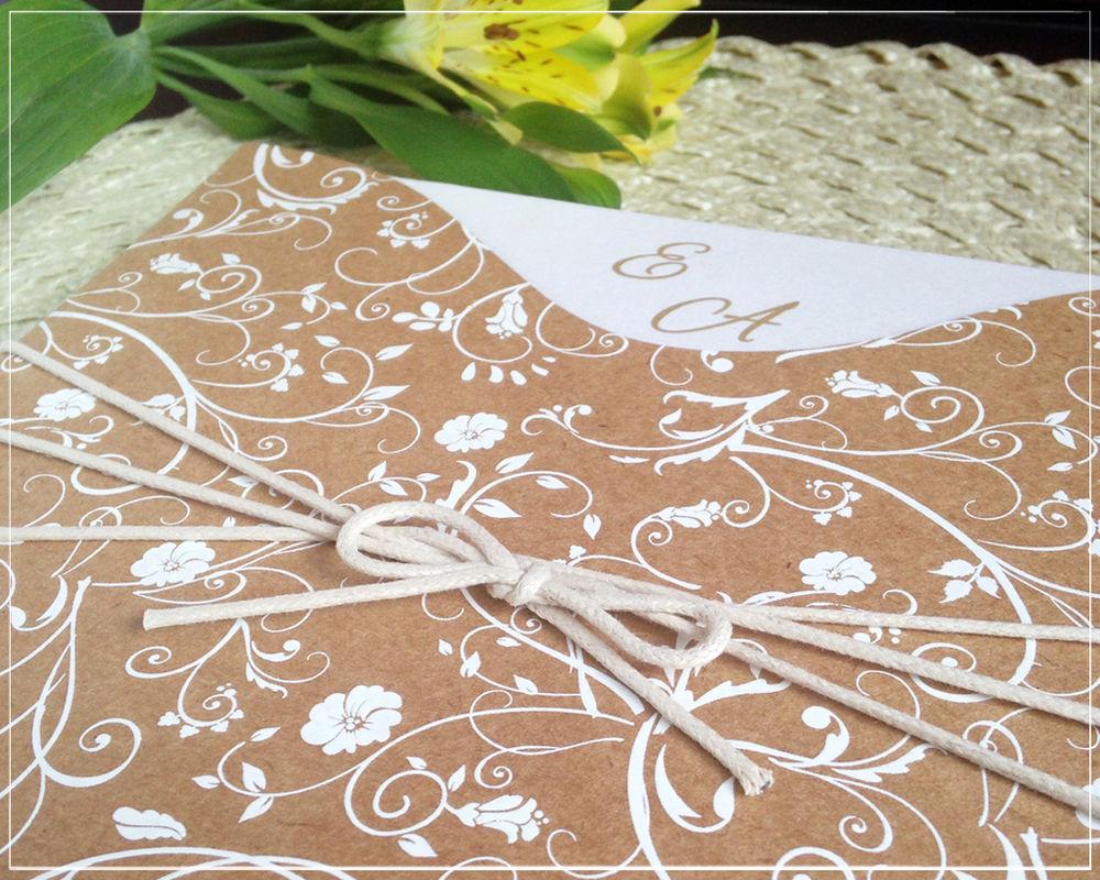 Convite Kraft Floral | Giselle Branco