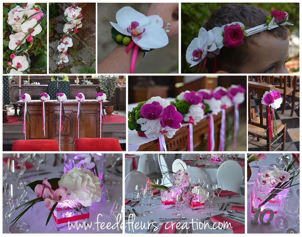 Mariage élégant et moderne en blanc et fuschia.  Arum, orchidée et hortensai