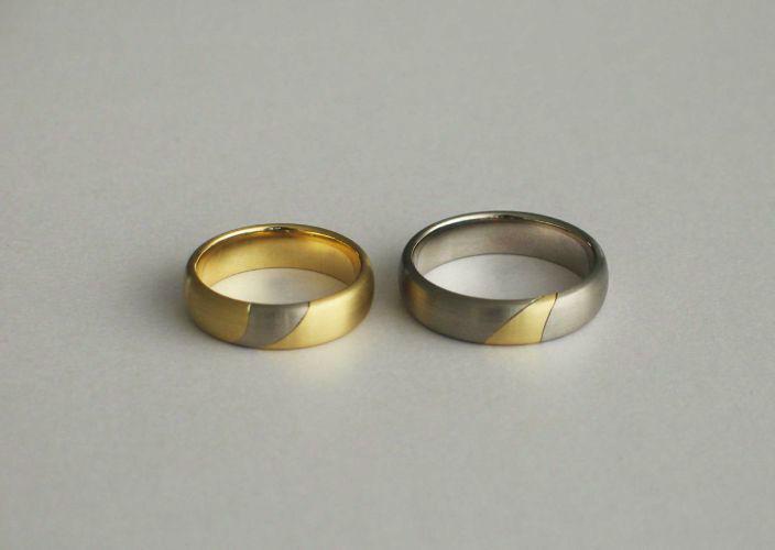 Beispiel: Trauringe - Gelb- und Weissgold, Foto: Juwelier Jaufman.