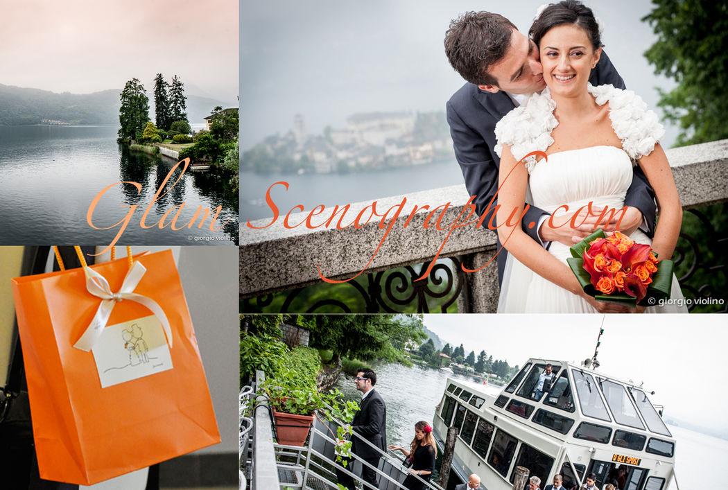 Matrimonio arancio al lago. Glam Scenography