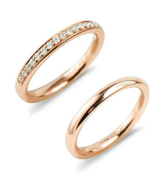Verse Joaillerie | Alianças de Casamento, Anéis de Noivado Aliança de Ouro Rosé. Meia Aliança de Diamantes de Ouro Rosé | VERSE Joaillerie