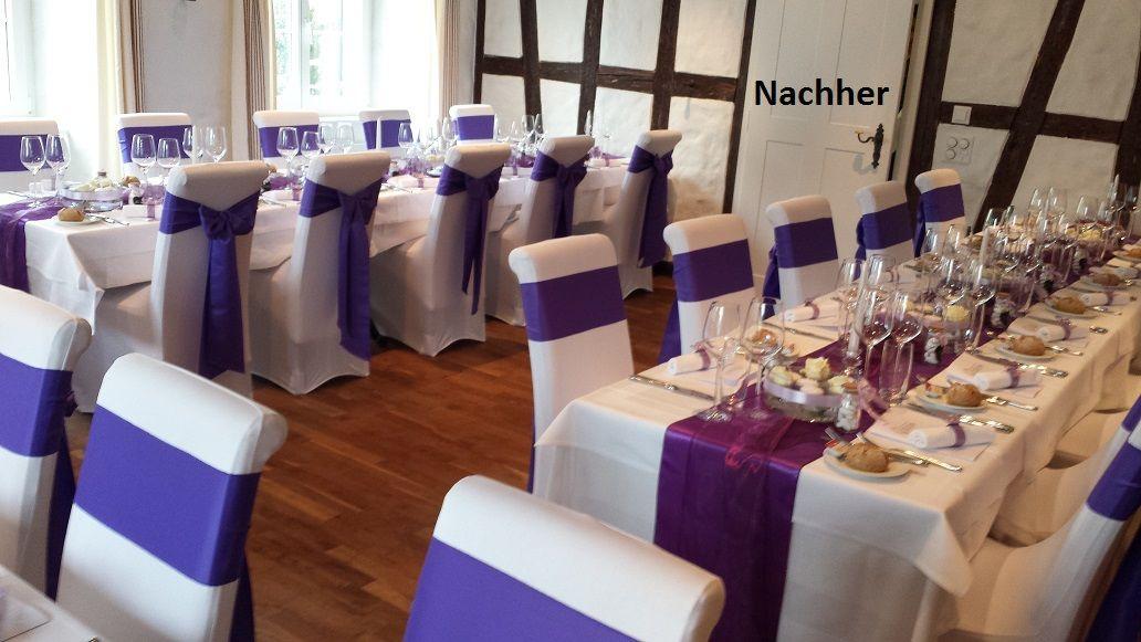 Stuhlhussen mit violetten Satinschleifen Foto Jenni's Creative Ideen