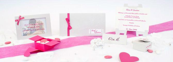Beispiel: Hochzeitsset Fresh-Pink, Foto: Sweet Wedding Hochzeitskarten.