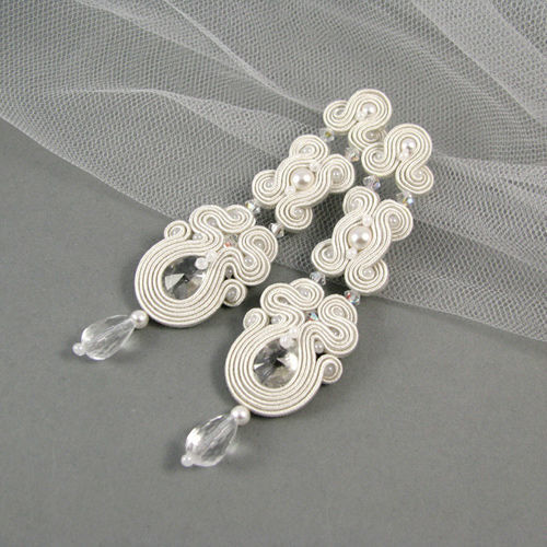 Małgorzata Sowa - PiLLow Design, Biżuteria ślubna sutasz. Kolczyki - kryształy SWarovski, kryształ górski, perły Swarovski, srebro