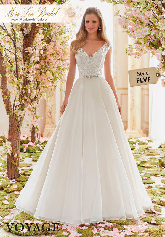 Dress Style FLVF  DELICATELY BEADED EMBROIDERY ON ORGANZA  Removable Beaded Satin Belt included. Colors Available: White, Ivory, Ivory/Champagne