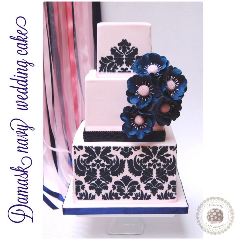 Damask navy wedding cake