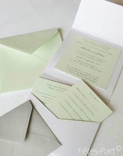 Fêtes-Part - Faire-part de mariage avec carton d'invitation et carton de réponse blanc et vert d'eau