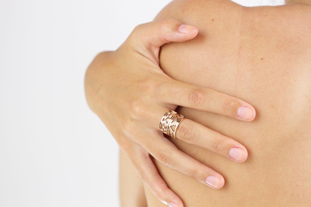 Afew Jewels -Anillos  Vaasa & Florø 18K Oro Rosa + 0.15Ct Brillantes Blancos 18K Oro Rosa + 0.22Ct Brillantes Blancos