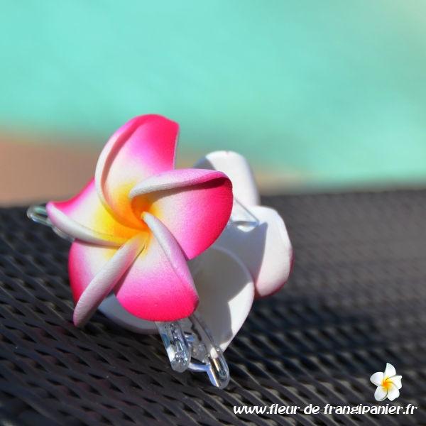 Pinces crabe de 6 cm ornées d'une fleur de frangipanier de 5 cm. Nombreux coloris disponibles.
