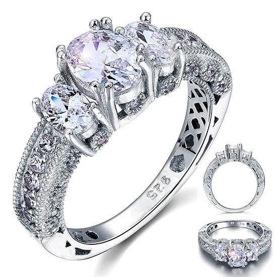 bague de style vintage en argent 925 et diamant synthétique