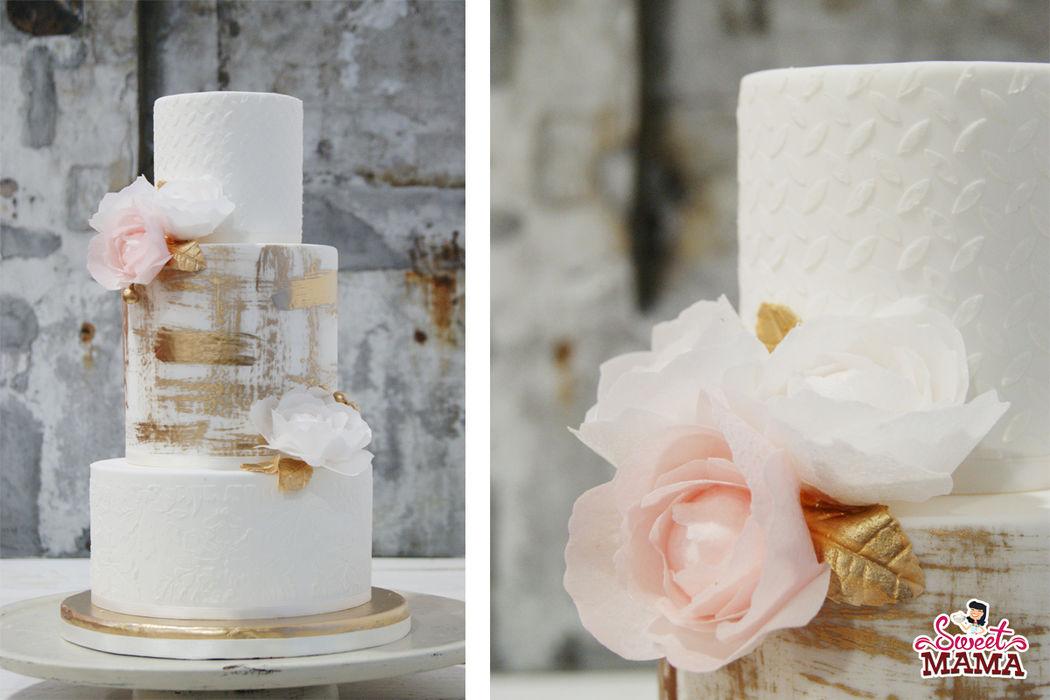 Pastel de boda inspirado en la colección 2016  de  vestidos de novia Inmaculada García.