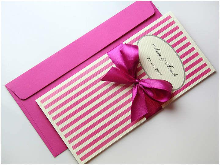 Zaproszenia Ślubne w paski róż http://decarte.com.pl