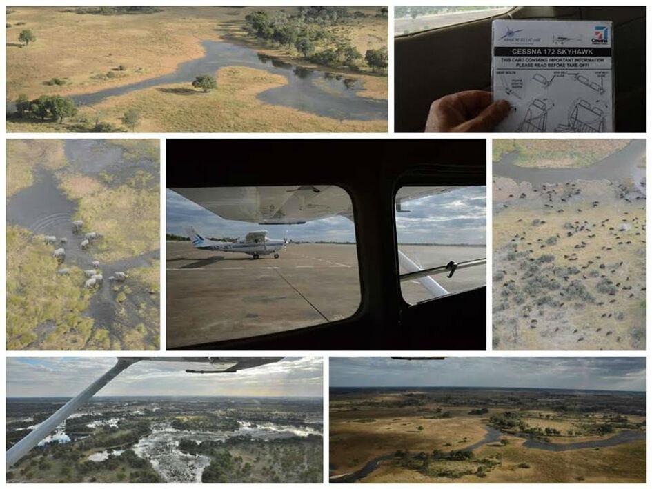 Survol du Delta en Cessna prive – à Okavango Delta.