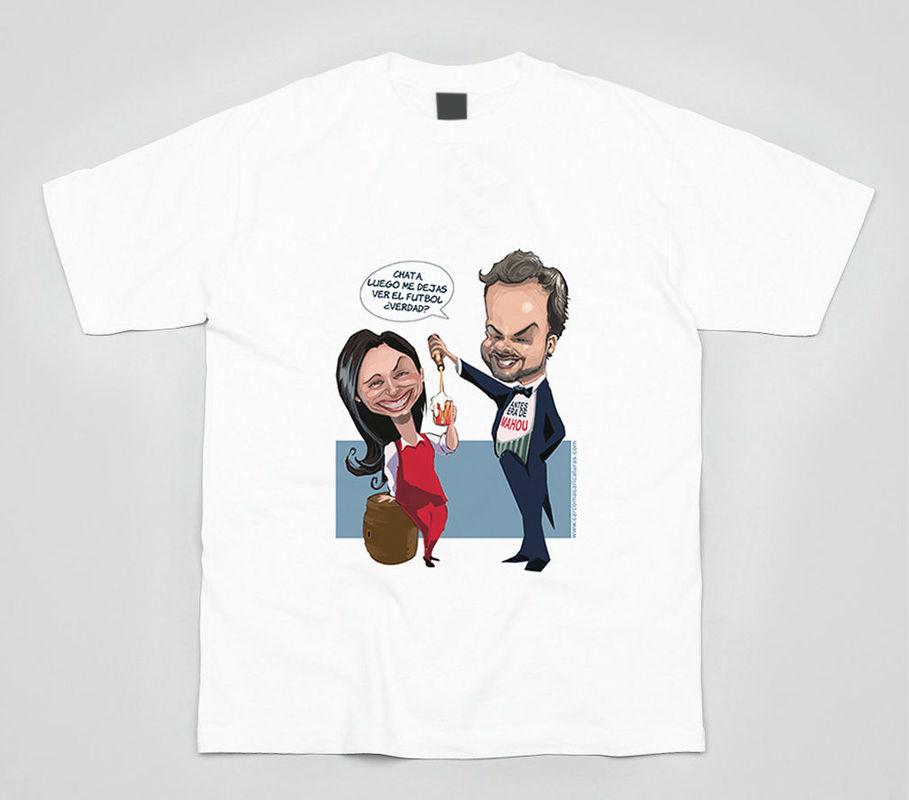 Camiseta con caricatura para despedida de soltero.