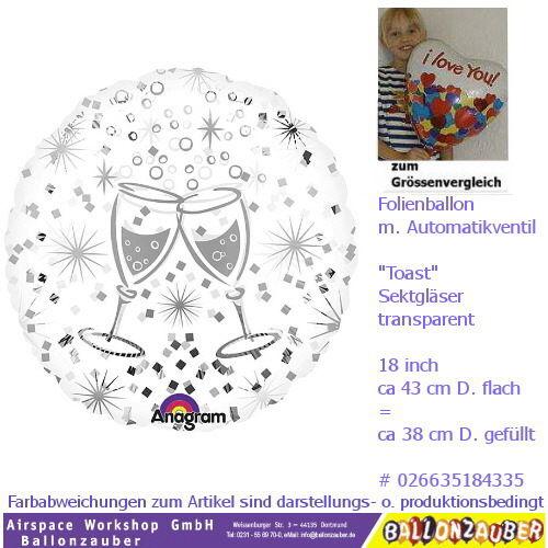 Beispiel: Ballon rund mit Sektgläsern, Foto: Ballonzauber. ...nur ein Beispiel von über 100 möglichen Designs....