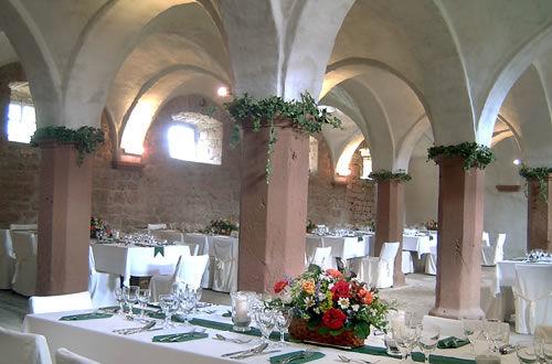 Beispiel: Gewölbestall Hochzeitsgedeck, Foto: Hofgut Habitzheim.