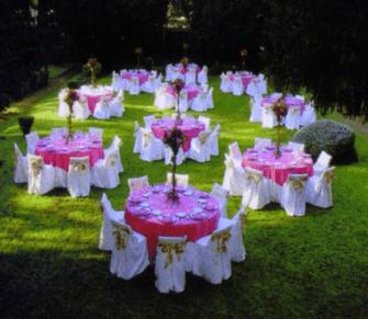 Beispiel: Hochzeitsgedeck im Garten, Foto: Gut Grafenried.
