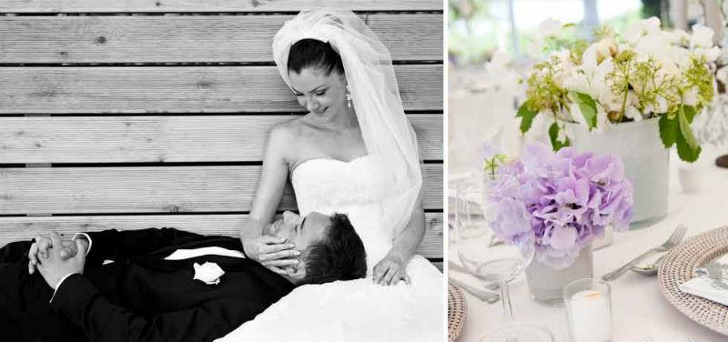 Beispiel: Brautpaar mit Blumendeko, Foto: Maison Mariée.